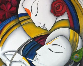 Radha and Krishna oil painting on canvas