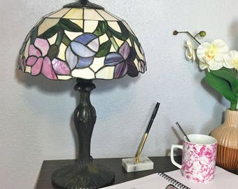 Tiffany Style Stained Glass Desk Lamp / Blue Pink Purple Floral Lamp Shade / Tiffany Style Table Light Fixture