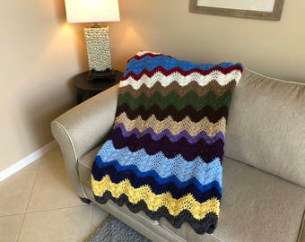Multi-Color Ripple Pattern Afghan