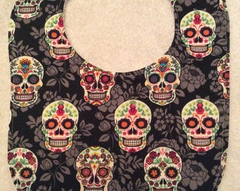 Sugar Skulls with Grey Baby Bibs