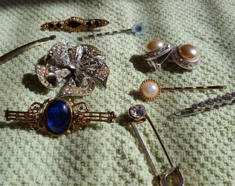Vintage brooches, hair pins and clip on earrings