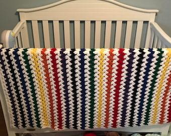 Handmade Rainbow Baby Toddler Kid Blanket Afghan