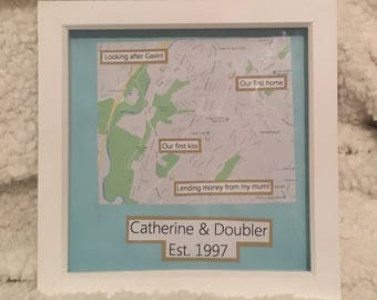 Relationship special places map framed gift