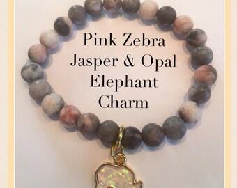 Pink Zebra Jasper with Opal 14k Gold plated Elephant Charm