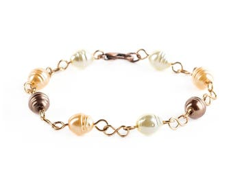 Amber Glass Pearl Beaded Bracelets Jewelry Wire Wrapped With Antique Brass Wire Handmade