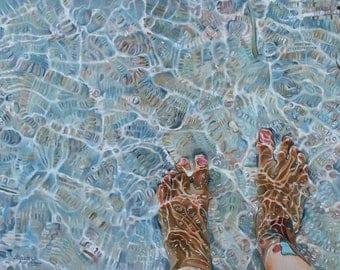"Original oil painting ""Walking away to the sea"""
