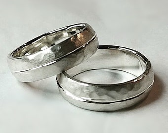 Court shaped silver bands