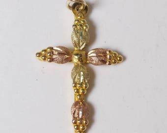 Tri-Color Gold Cross Pendant