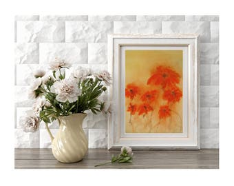 Original Red Flowers Art Field of Red Poppies Painting of Red Flowers Abstract Flowers Small Art Wall Decor Spring Flowers Gift for Mother