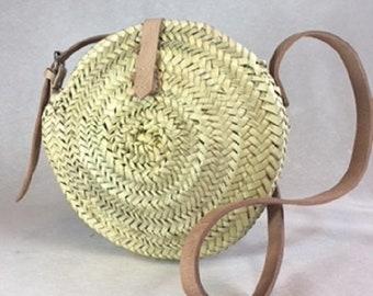 Round basket - straw - Moroccan basket - round stroh tasche - basket bag - tiny Round straw bag - Marrakesh basket - bag