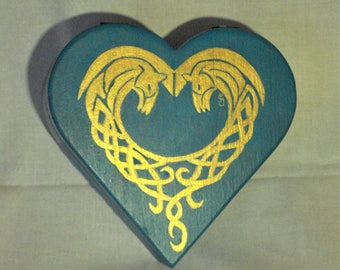 Hand painted heart shaped box in acrylic.