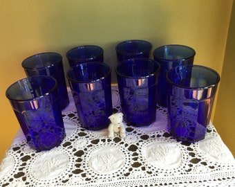 Cobalt Blue Glass Tumblers Glasses Made in FRANCE set of eight Water Glasses