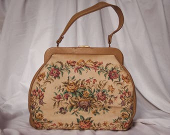 Vintage Floral Needlepoint Handbag