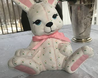 Hand-painted ceramic bunny