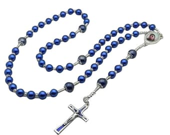 Blue Pearl Our Lady Rosary Necklace with Crucifix, Ladies Rosary, Catholic Rosary, Rosary Beads, Catholic Jewelry, Rosary for Women, Fatima