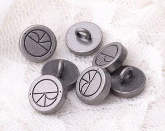 10pcs 10mm metal light black buttons carven button round shank button