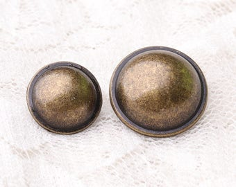 mushroom buttons 10pcs 2 size 16.5*10/12.5*8mm metal bronze buttons coat buttons