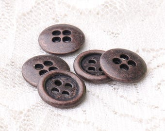 buttons metal buttons 10pcs 11mm 4 hole buttons round sewing coat cardigan buttons copper buttons