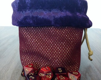 Reversible CURSE OF STRAHD Dice Bag with Gold Paracord