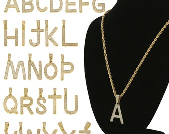 """New Custom Alphabet Letter Iced Out Pendant 4mm 20"""",24"""",30"""",36"""" Rope Chain Hip Hop Necklace"""