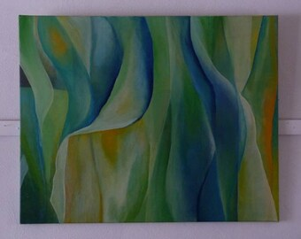 Titel: Zomerbries. Abstract. Acrylschilderij vol zonnige, vloeiende vormen. Blauwen en groenen en iets geel. Helder en licht.