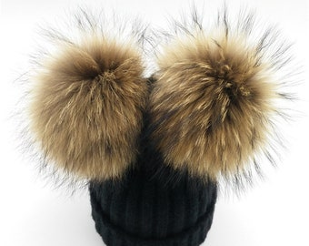 Real Fur baby pom pom hat, Baby beanie, infant winter hats, knit baby hat, double pom pom baby hat