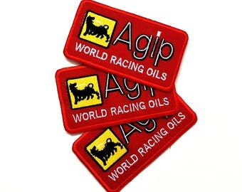 Agip World Racing Oils Auto Lube Formula1 Embroidered/Sew Iron On patch 3pcs