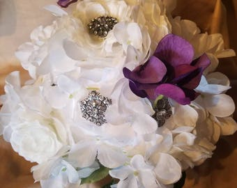 Floral and broach bouquet
