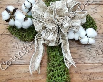 Cross Wreath -Moss Cross Farmhouse Inspired Hanging Wreath- Religious Decor - Easter Decor - Wall Decor - Farmhouse Decor