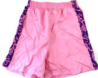 Vintage Hot Pink and Purple Designed Shorts/Trunks ~ See Measurements
