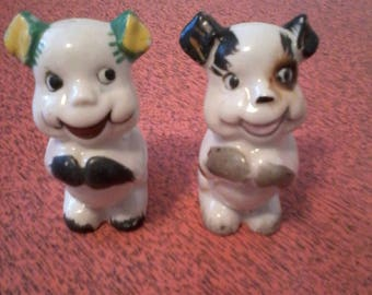 Antique Hand Painted Happy Begging Puppy Salt and Pepper shakers