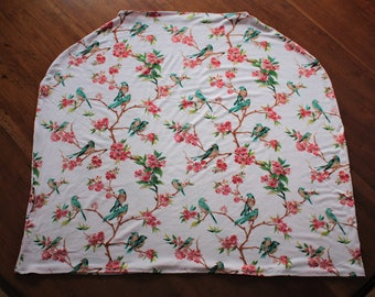 Car Seat Cover/Nursing Cover - Stretchy Car Seat Cover - Floral Girl Car Seat Cover - Floral Nursing Cover