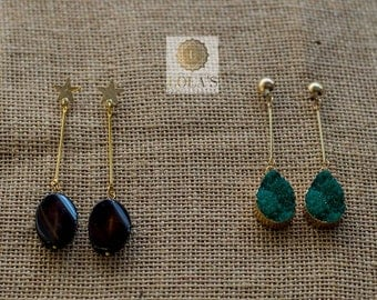 Long earrings with stone