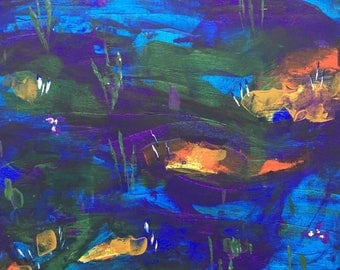 Lily pond abstract acrylic canvas
