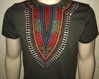 Dashiki T-shirt Khaki (khaki and red)