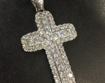 Large silver cubic zirconia cross