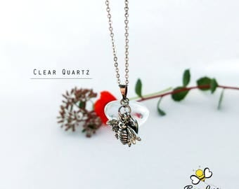 CLEAR QUARTZ Bee Love Charm Necklace