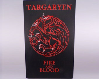 Wood engraved coat of arms (emblem) of the House of Targaryen. Game of Thrones.
