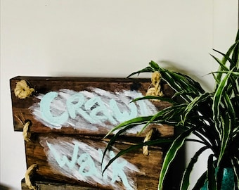 Crawl , walk, surf rustic shabby chic decor sign - solid timber