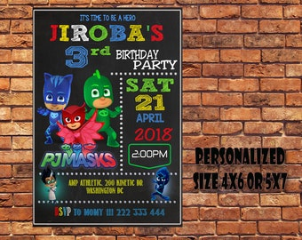 Pj Mask Invitation,Pj Mask Birthday,Pj Mask Birthday Invitation,Pj Mask Party,Pj Mask Printable,Pj Masks,Digital Download,Personalized