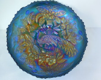 Carnival Glass Peacock and Urn Blue Footed Bowl/Fenton Glass 1910/Pie crust rim/Rare item