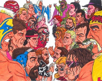 WCW vs WWF Fan Art Print 11x17 - Hulk Hogan, Sting, Undertaker, Ric Flair, Macho Man, Road Warriors, Andre The Giant, and more!