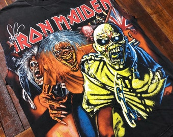 Vintage 90s Iron Maiden Vest T-Shirt size XL 2-side