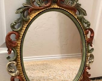 Filigree victorian oval shaped mirror