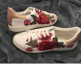 Rose Embroidered Sneakers