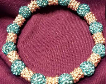 Gorgeous Blingy Aqua Blue and Silver Glass Bead Bracelet w/ metal separators