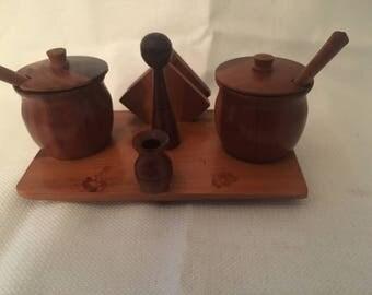Wood Salt and Pepper Pots set