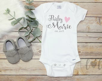 Baby name onesies etsy personalized baby name onesie baby girl custom onesie bodysuit baby negle Choice Image