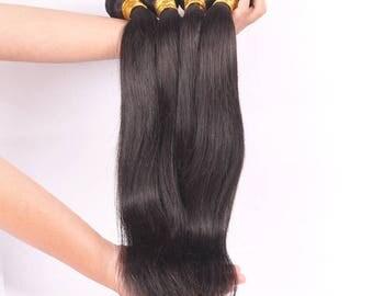Natural Black Brazilian Human Hair Wefts