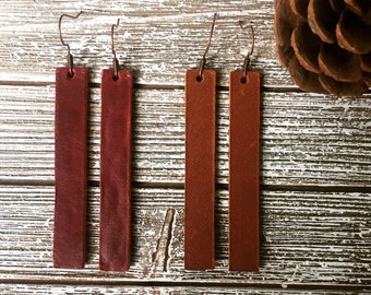 Thick aged leather red or brown